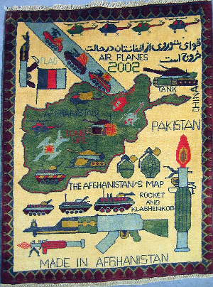 Soviet Exodus War Rug  with Blue and Green AK