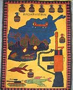 M-16 Tora Bora War Rug with Five Grenades in Row on Top