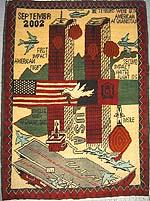 WTC war rug with Blue Fighter Jets on Aircraft Carrier