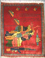 Soviet Exodus with Afghan Provinces War Rug GOOD ID#