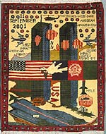 World Trade Center War Rug with Striped Explosions - Used in Barnard Lecture