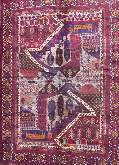 Early Large Format Landscape Afghan War Rug<br></b>Price on request Afghan Rug