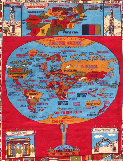 World Map Rug with Minarets