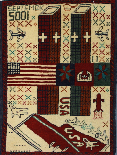 War Rugs showing the World Trade Center and 9/11/2001