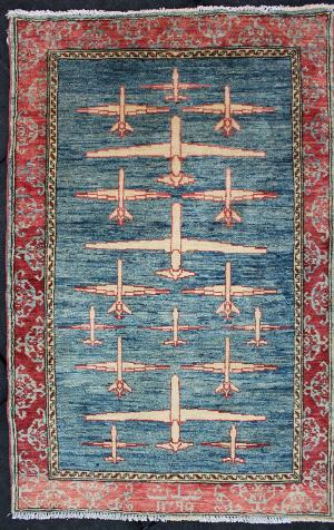 Dark Blue Field Drone Rug Afghan Rug