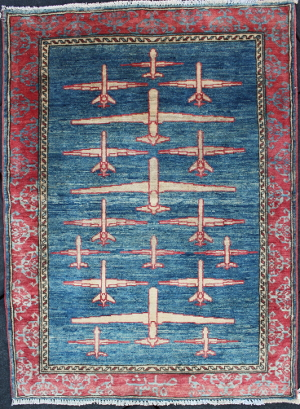 Blue and Vermilion Drone War Rug #2