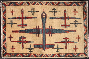 Red, white, and blue Drone Rug with Turkmen Border