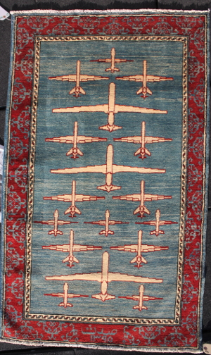 Blue and Alizarin Drone Rug
