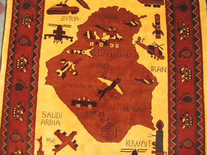 Yellow Afghan map war rug