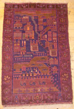 Hazara Pictorial burgundy Pakistan War Rug