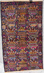 Brightly Colored Rows of Tanks War Rug