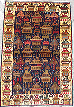 Golden Border War Rug with All Over Tank and Airplane Field