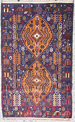 Two Geometric Medallions War Rug with Helicopter Border