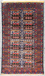 Small Ten Tank Style War Rug Featuring Black Tanks. (Exhibition #26)