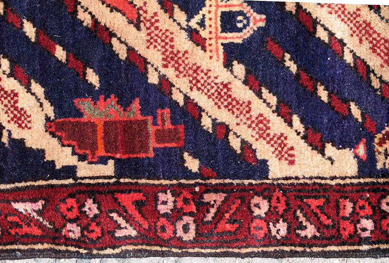 Pictorial hand woven rug