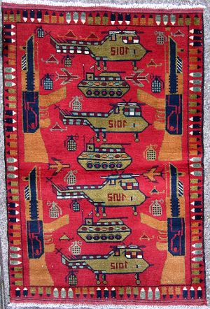 Red Rug with Najibullah Structure Afghan Rug