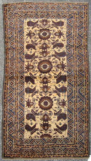 Buff Field Flower Medallion Helicopter War Rug Afghan Rug