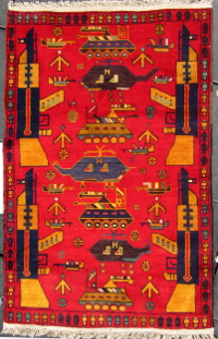 Blue Abrash Helicopter Red Rug
