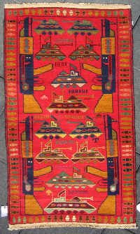 Red rug with numbered pattern/bullet trim and colored tanks with airplanes throughout