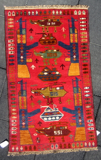 Red War Rug with Planes Shaped as Human Female Figures