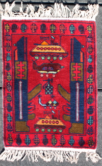 Red War Rug with Classic AK's, Tanks and Grenades