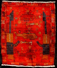 Small Red War Rug with Red Helicopters and RPG's