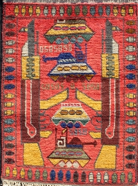 Classic Red Rug (Bullet Border Outlined with Blue)