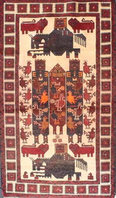 Two Plump Horses Rug Afghan Rug