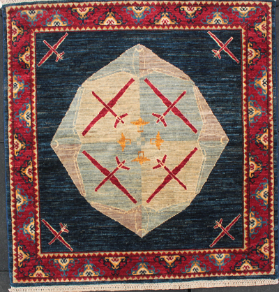 Large Medallion Drone War Rug (Loaned to Textile Museum)