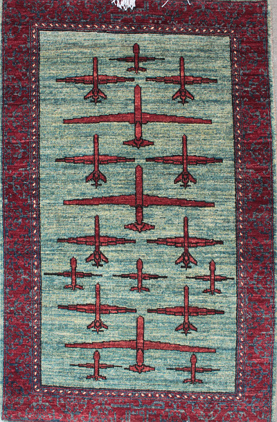 Blue Green Sky Three Drone War Rug (2015)