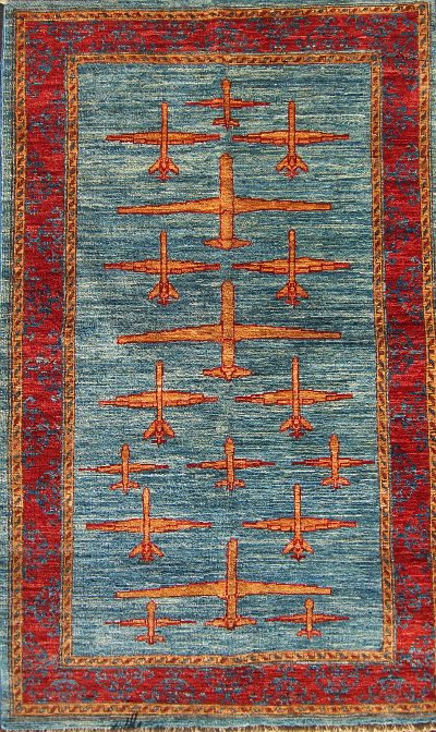 Gold and Blue Three Drone War Rug