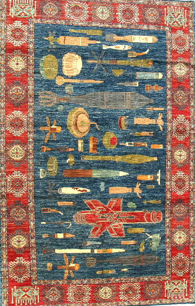 SOLD: <br>First edition of UXO rugs. Dark blue, small size Unexploded Ordnance Rug
