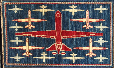 Curvy Tail Dark Blue Reader Afghan Drone War rug