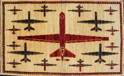 Red, White, and Blue Reaper Drone Afghan War rug