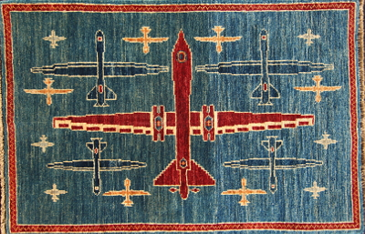 Red, White, and Blue Drones on a Blue Sky - Afghan War Rug