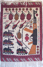 AK Diagonal Helicopters / Red bomb Afghanistan War Rug