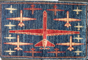 Dark Blue Reaper Drone War Rug with Traditional Turkmen Border