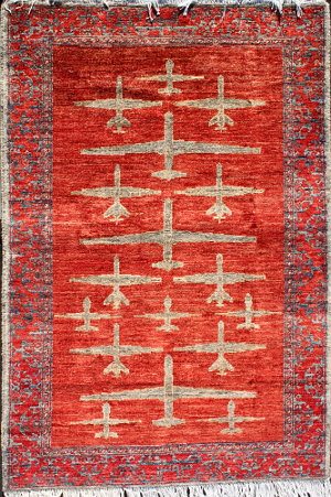 Red Drone War Rug