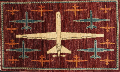 Burgundy Reaper Drone War Rug: 2020