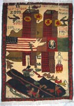 World Trade Center 9/11 War Rug with Black Aircraft Carrier