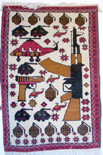 AK with Short Pistol Afghan War Rug