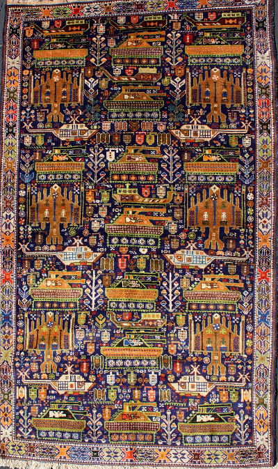 F:16 War Rug with Human Figures Under Wings