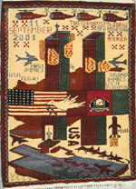 World Trade Center War Rug with Four Helicopters