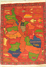 Old Afghan Map with Provinces and War Motifs War Rug