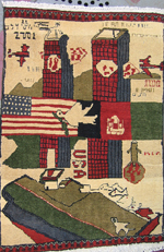 No Border WTC War Rug with Primitive Drawing