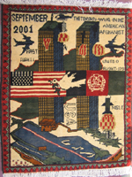 Exhibited in Miami Universit Art Musuem WTC Rug with Flight Numbers