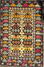 Mixed Ten Tank and Car Style Afghan War Rug