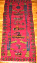 Ghazni wool red rug with Grenade border