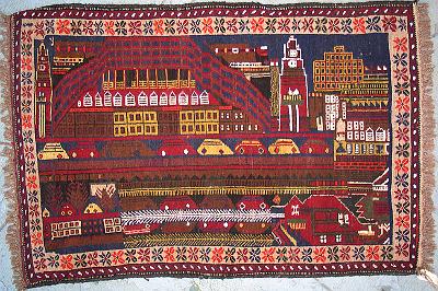 Tyne River Veiw, Newcastle, En. Afghan rug with cars Afghan Rug