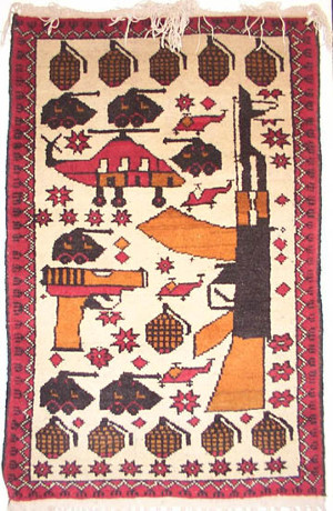 AK with Long Pistol Afghan War Rug